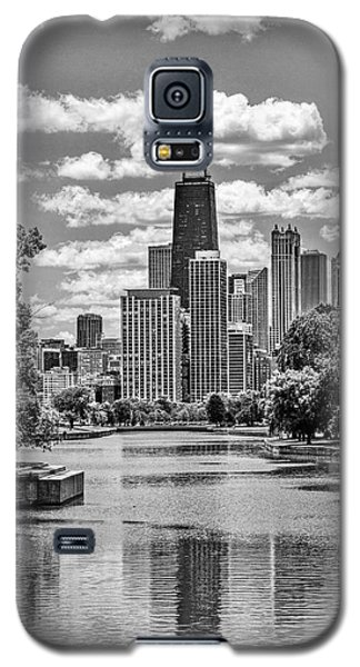 Galaxy S5 Case featuring the painting Chicago Lincoln Park Lagoon Black And White by Christopher Arndt