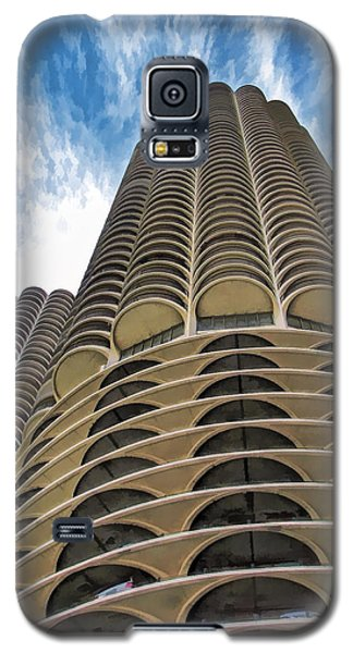 Galaxy S5 Case featuring the painting Chicago Marina Towers by Christopher Arndt