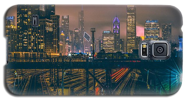 Transportation Galaxy S5 Case - Chicago Night Skyline  by Cory Dewald