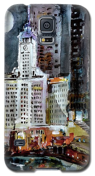Chicago Night Wrigley Building Art Galaxy S5 Case