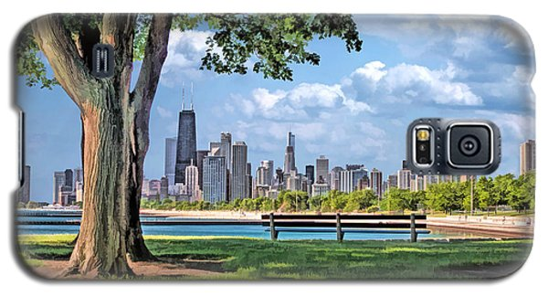 Galaxy S5 Case featuring the painting Chicago North Skyline Park by Christopher Arndt