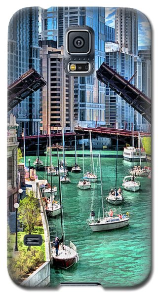 Galaxy S5 Case featuring the painting Chicago River Boat Migration by Christopher Arndt