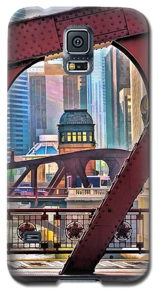 Galaxy S5 Case featuring the painting Chicago River Bridge Framed by Christopher Arndt