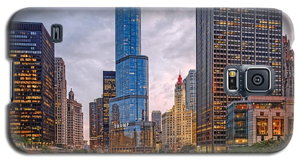 Chicago Riverwalk Equitable Wrigley Building And Trump International Tower And Hotel At Sunset  Galaxy S5 Case