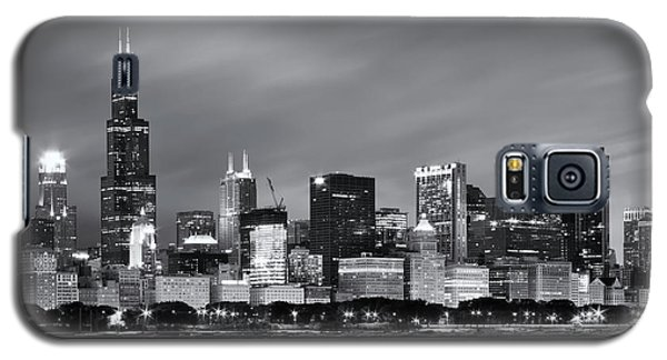 Galaxy S5 Case featuring the photograph Chicago Skyline At Night Black And White  by Adam Romanowicz