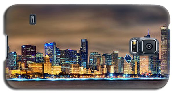Chicago Skyline At Night Panorama Galaxy S5 Case by Jon Holiday