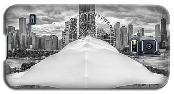 Galaxy S5 Case featuring the photograph Chicago Skyline From Navy Pier Black And White by Adam Romanowicz