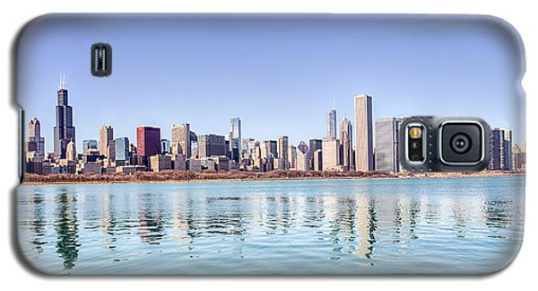 Galaxy S5 Case featuring the photograph Chicago Skyline Reflecting In Lake Michigan by Peter Ciro