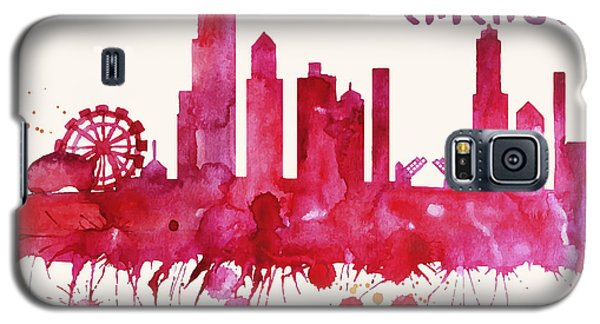 Chicago Skyline Watercolor Poster - Cityscape Painting Artwork Galaxy S5 Case