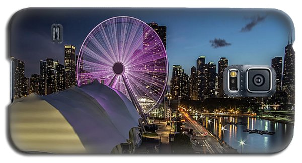 Chicago Skyline With New Ferris Wheel At Dusk Galaxy S5 Case