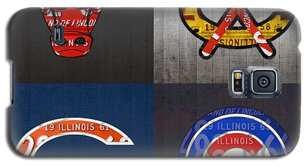 Chicago Sports Fan Recycled Vintage Illinois License Plate Art Bulls Blackhawks Bears And Cubs Galaxy S5 Case by Design Turnpike