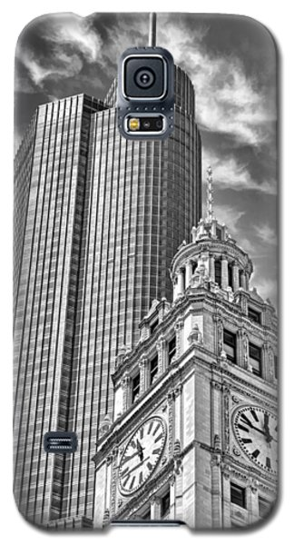 Galaxy S5 Case featuring the photograph Chicago Trump And Wrigley Towers Black And White by Christopher Arndt
