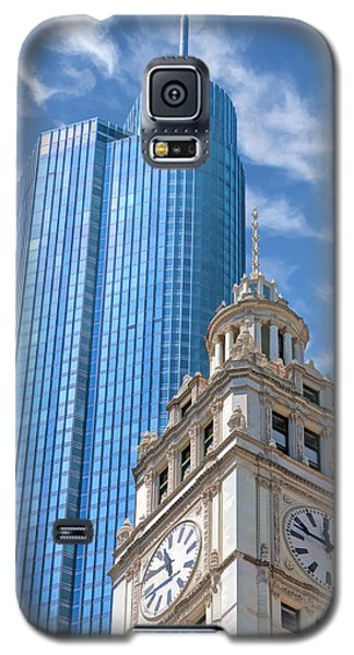 Galaxy S5 Case featuring the painting Chicago Trump And Wrigley Towers by Christopher Arndt