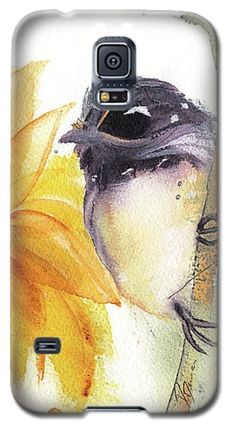 Galaxy S5 Case featuring the painting Chickadee And Sunflowers by Dawn Derman