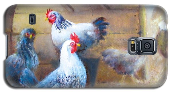 Galaxy S5 Case featuring the painting Chickens All Cooped Up by Oz Freedgood