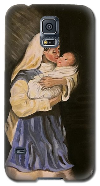 Galaxy S5 Case featuring the painting Child In Manger by Brindha Naveen