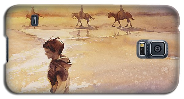 Galaxy S5 Case featuring the painting Child On Beach- Ocracoke Island, Nc by Ryan Fox