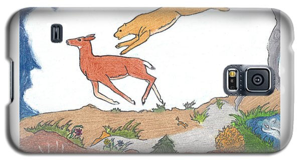 Galaxy S5 Case featuring the drawing Childhood Drawing Cougar Attacking Deer by Dawn Senior-Trask