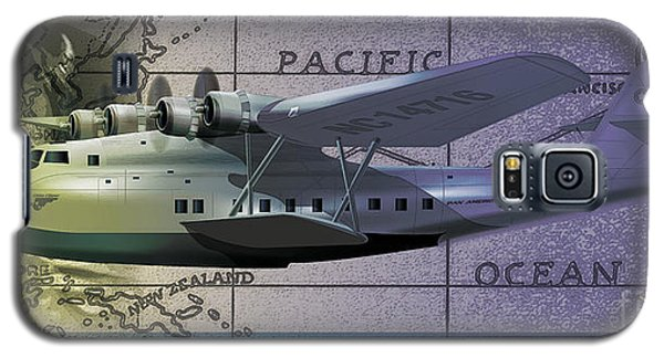 Galaxy S5 Case featuring the drawing China Clipper Chasing The Sun by Kenneth De Tore