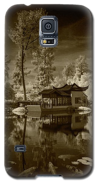Galaxy S5 Case featuring the photograph Chinese Botanical Garden In California With Koi Fish In Sepia Tone by Randall Nyhof
