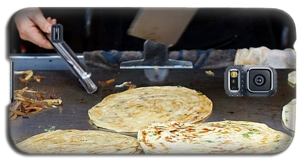 Galaxy S5 Case featuring the photograph Chinese Street Vendor Cooks Onion Pancakes by Yali Shi