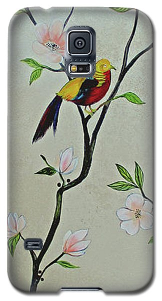 Magnolia Galaxy S5 Case - Chinoiserie - Magnolias And Birds #1 by Shadia Derbyshire