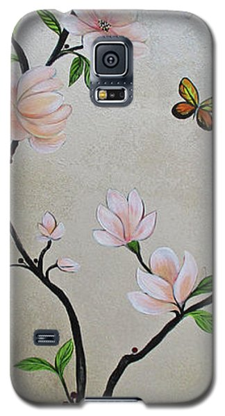 Magnolia Galaxy S5 Case - Chinoiserie - Magnolias And Birds #3 by Shadia Derbyshire