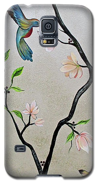 Magnolia Galaxy S5 Case - Chinoiserie - Magnolias And Birds #5 by Shadia Derbyshire