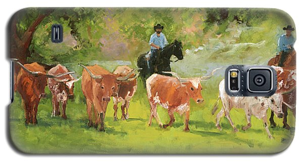 Chisholm Trail Texas Longhorn Cattle Drive Oil Painting By Kmcelwaine Galaxy S5 Case