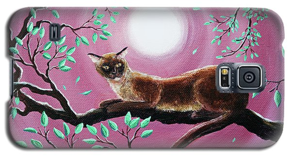 Chocolate Burmese Cat In Dancing Leaves Galaxy S5 Case by Laura Iverson
