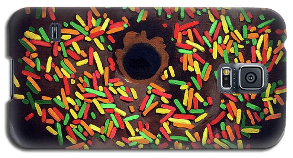 Galaxy S5 Case featuring the painting Chocolate Donut And Sprinkles Large Painting by Linda Apple