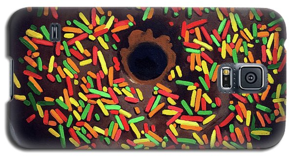 Chocolate Donut And Sprinkles Large Painting Galaxy S5 Case