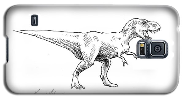Galaxy S5 Case featuring the drawing Tyrannosaurus Rex Dinosaur T-rex Ink Drawing Illustration by Karen Whitworth