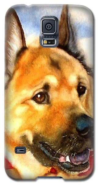 Galaxy S5 Case featuring the painting Chow Shepherd Mix by Marilyn Jacobson