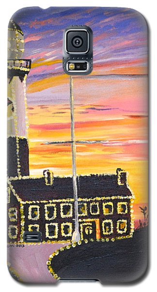 Galaxy S5 Case featuring the painting Christmas At The Lighthouse by Donna Blossom
