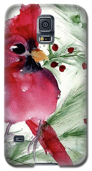 Galaxy S5 Case featuring the painting Christmas Cardinal by Dawn Derman