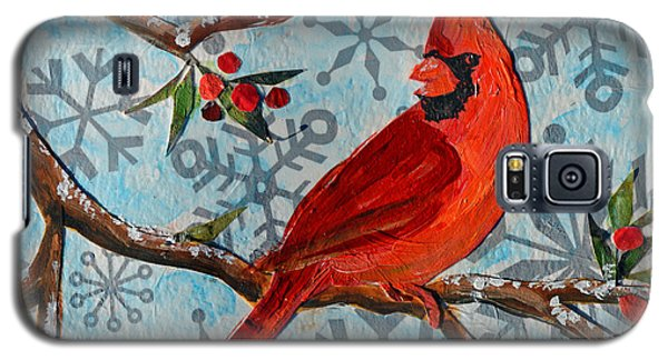 Christmas Cardinal Galaxy S5 Case by Li Newton
