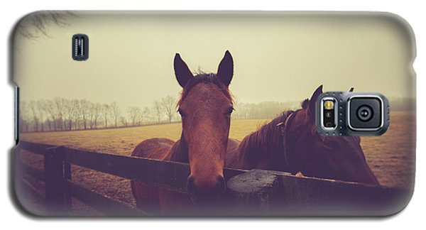 Galaxy S5 Case featuring the photograph Christmas Horses by Shane Holsclaw