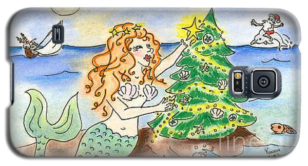Galaxy S5 Case featuring the drawing Christmas Mermaid by Vonda Lawson-Rosa