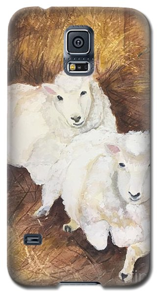 Galaxy S5 Case featuring the painting Christmas Sheep by Lucia Grilletto
