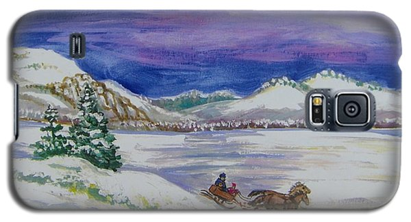 Galaxy S5 Case featuring the painting Christmas Sleigh by Dawn Senior-Trask