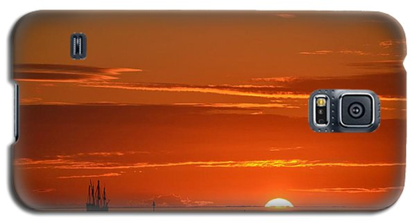 Christopher Columbus Replica Wooden Sailing Ship Nina Sails Off Into The Sunset Galaxy S5 Case by Jeff at JSJ Photography