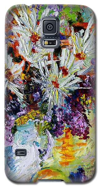Galaxy S5 Case featuring the painting Chrysanthemums And Lilacs Still Life by Ginette Callaway