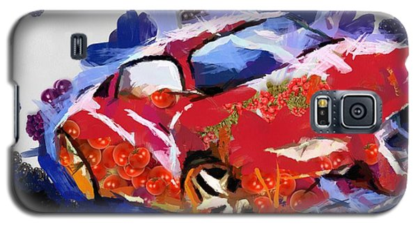 Galaxy S5 Case featuring the painting Chubby Car Red by Catherine Lott