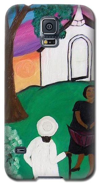 Galaxy S5 Case featuring the painting Church Ladies  by Mildred Chatman