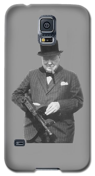 Churchill Posing With A Tommy Gun Galaxy S5 Case by War Is Hell Store