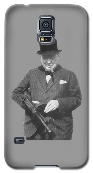Politicians Galaxy S5 Case - Churchill Posing With A Tommy Gun by War Is Hell Store