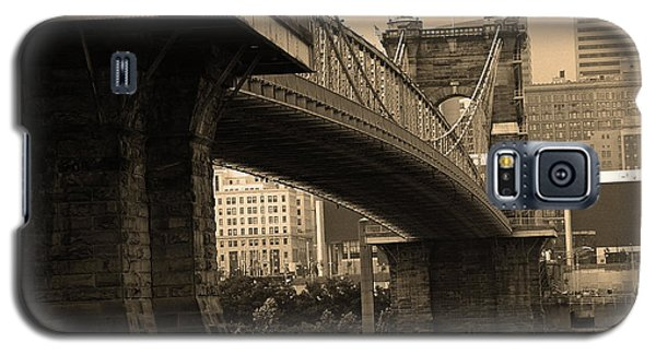 Cincinnati - Roebling Bridge 2 Sepia Galaxy S5 Case by Frank Romeo