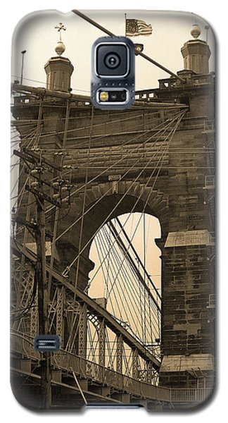 Cincinnati - Roebling Bridge 4 Sepia Galaxy S5 Case by Frank Romeo