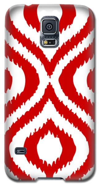 Circle And Oval Ikat In White T02-p0100 Galaxy S5 Case by Custom Home Fashions
